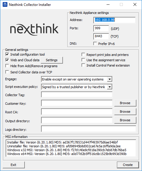 Installing the Collector on Windows | Nexthink Documentation